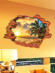 cheap -Fanshih New Scenery Sunset Seascape Island Coconut Tree Home Decoration Can Remove Diy Wall Decor 60*90cm