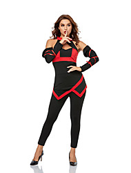 cheap -Soldier / Warrior Ninja Zentai Suits Adults' Women's Halloween Halloween Halloween Festival / Holiday Polyester Red+Black Women's Easy Carnival Costumes Solid Color / Top / Pants / Gloves