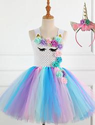 cheap -Princess Fairytale Unicorn Dress Cosplay Costume Party Costume Girls' Movie Cosplay Tutus Plaited Purple Blue Dress Headwear Christmas Halloween Children's Day Polyester