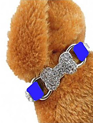 cheap -Pets Collar Adjustable PU Leather Blue 1pc