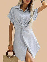 cheap -Women's Striped Twist Shirtdress Midi Dress Body Shape Daily Outwear