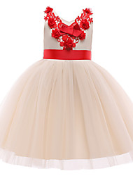 cheap -Kids Little Girls' Dress Flower / Floral Solid Color Ribbon bow Party / Evening Shrimp Pink Champagne Sleeveless Formal Dresses All Seasons 2-9 Years / Cotton