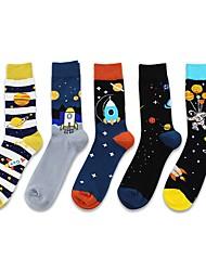 cheap -Fashion Comfort Men's Socks Cartoon Multi Color Socks Medium Casual Spring Multi color 5 Pairs