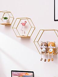 cheap -3pcs Decoration Craft Nordic Hexagonal Iron Stand storage shelf Home Shelf Storage Holder Contracted Design Decorative Shelves