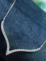 cheap -Women's Clear AAA Cubic Zirconia Pendant Necklace Pave Simple Elegant Romantic Holiday Brass Silver 50 cm Necklace Jewelry 1pc For Wedding Party Evening Prom Birthday Party Festival