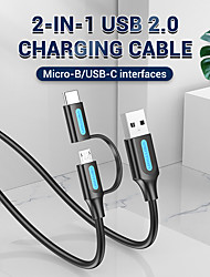 cheap -VENTION USB 2.0 Micro USB USB C Cable 2 In 1 2 A 1.0m(3Ft) 0.5m(1.5Ft) PVC(PolyVinyl Chloride) Tinned copper For Samsung Xiaomi Huawei Phone Accessory