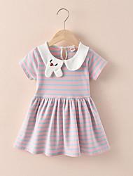 cheap -[90-130cm] girls' sweet striped lapel short sleeve dress
