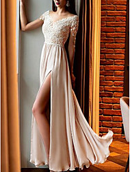 cheap -A-Line Empire Sparkle Wedding Guest Prom Dress V Neck Half Sleeve Floor Length Chiffon Lace with Appliques Split Front 2021