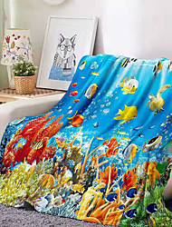 cheap -Flannel Throw Blanket All Season For Couch Chair Sofa Bed Picnic 3D Print Fishes Sea Ocean Animals Soft Fluffy Warm Cozy Plush Autumn Winter