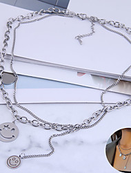 cheap -Women's Necklace Layered Necklace Double Layered Laugh Simple Korean Hip Hop Stainless Steel Alloy Silver 48 cm Necklace Jewelry 1pc For Street Gift Birthday Party