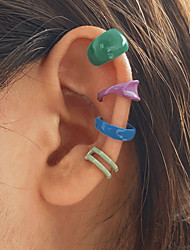 cheap -4PCS Ear Clips Classic Fashion Stylish Simple Sweet Earrings Jewelry Rainbow color For Party Evening Gift Date Birthday Beach 2 Pairs