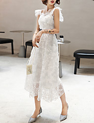 cheap -A-Line Flirty Elegant Homecoming Cocktail Party Dress Spaghetti Strap Sleeveless Tea Length Tulle with Sash / Ribbon Appliques 2021