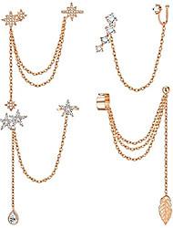 cheap -4pcs cuff earrings chain for women leaf ear stud snowflake flower ear cuffs with cz inlay crawler earring studs dangling chain earrings