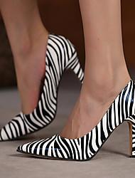 cheap -Women's Heels High Heel Pumps Pointed Toe Daily PU Striped Zebra Print White Brown / 3-4