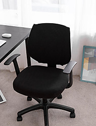 cheap -Computer Office Chair Cover Stretch Rotating Gaming Seat Slipcover Elastic Jacquard Black Plain Solid Color Soft Durable Washable