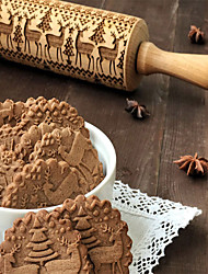 cheap -Embossed Wooden Rolling Pin Beech Wood Carved Engraved Rolling Pin with Christmas Snowflake Flower Pattern for Baking Embossed Cookies Cute Kitchen Tool for Kids and Adults