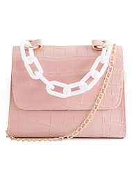 cheap -Women's Bags PU Leather Crossbody Bag Chain Embossed Fashion Daily Date Handbags Baguette Bag Chain Bag Blushing Pink Khaki Dark Green White