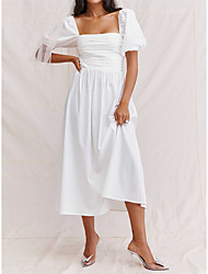 cheap -A-Line Wedding Dresses Square Neck Ankle Length Taffeta 3/4 Length Sleeve Country Simple with Pleats Ruched 2021