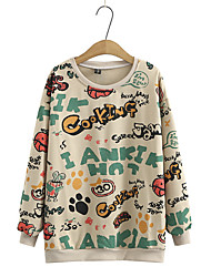 cheap -Women's Plus Size Tops Hoodie Cartoon Print Long Sleeve Round Neck Active Casual Fall Winter Cream color Grey Black Big Size 2XL (140-160 kg recommended) 3XL (160-180 kg recommended) 4XL (180-200 kg