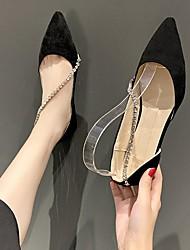 cheap -Women's Flats Flat Heel Pointed Toe Rubber Black Beige