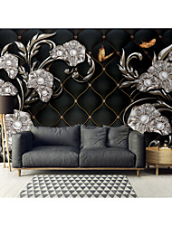 cheap -Mural Wallpaper Wall StickerCovering Print Peel and Stick Self Adhesive Silver White Jewellery Flower PVC / Vinyl  Home Decor