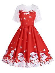 cheap -Women's A Line Dress Knee Length Dress Red Short Sleeve Print Geometric Lace Print Fall Winter Round Neck Casual Vintage Christmas 2021 S M L XL XXL
