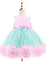 cheap -Ball Gown Knee Length Flower Girl Dresses Wedding Satin Sleeveless Jewel Neck with Bow(s)