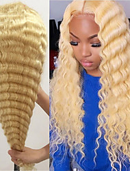 cheap -150% 13x4 Lace 613 Blonde Lace Front Wig Deep Wave Human Hair Wigs With Baby Hair Remy Brazilian Before Plucked