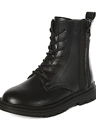 cheap -Girls' Boots Dress Shoes Mid-Calf Boots Boots New Year's Leather Wedding Cute Casual / Daily Combat Boots Big Kids(7years +) Daily Party & Evening Black Fall Winter / Rubber