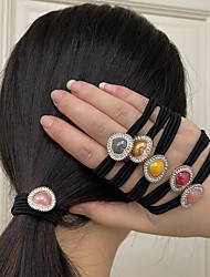 cheap -6PCS Women's Hair Ties For Wedding Street Gift Prom Heart Pave Resin Rhinestone Rubber Mixed Color 6pcs