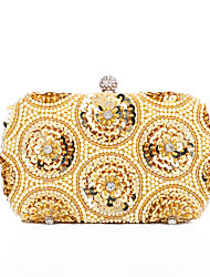 cheap -Women's Bags Polyester Evening Bag Sequin Chain Solid Color Party Wedding Evening Bag Chain Bag Khaki White