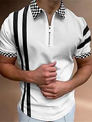cheap -Men's Golf Shirt Striped Plaid Zipper Short Sleeve Street Tops Sportswear Casual Fashion Comfortable White / Summer