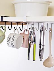 cheap -Kitchen Storage Rack 6 Hooks Nail-Free 2 Packs and 5 Packs Hanging Wrought Iron Wardrobe Hook Home Seamless Kitchen Organizer