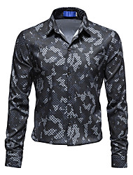 cheap -Men's Shirt Graphic Long Sleeve Casual Tops Chinese Style Fashion Black