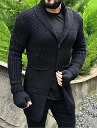 cheap -Men's Unisex Cardigan Knitted Solid Color Stylish Vintage Style Long Sleeve Sweater Cardigans V Neck Fall Winter Large amount of spot long-term supply Black Beige