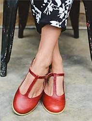 cheap -Women's Flats Flat Heel Round Toe PU Solid Colored Burgundy Black Beige