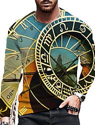 cheap -Men's Unisex Tee T shirt Shirt 3D Print Graphic Prints Clock Print Long Sleeve Daily Tops Casual Designer Big and Tall Blue
