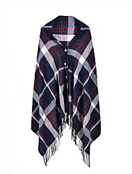 cheap -Spring and autumn and winter Europe and the United States double-sided imitation cashmere with button cloak tassel warm grid big scarf female 130x150CM