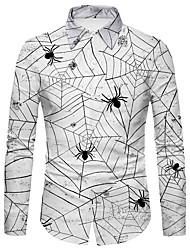 cheap -Men's Shirt 3D Print Spider Spider web 3D Print Button-Down Long Sleeve Halloween Regular Fit Tops Casual Fashion Comfortable White