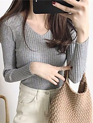 cheap -Women's Pullover Sweater Classic Style Solid Color Casual Sexy Long Sleeve Sweater Cardigans V Neck Fall Spring Yellow Blushing Pink Grey