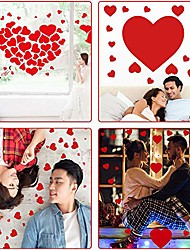cheap -208 pieces red heart decals love stickers diy self-adhesive glass floor wall windows decor for valentine's day holiday wedding home decoration