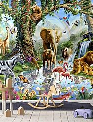 cheap -Mural Wallpaper Wall Sticker Covering Print Peel and Stick Self Adhesive Children Cartoon Animals Living Room PVC / Vinyl Home Decor