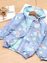 cheap -Kids Unisex Jacket & Coat 1pc Long Sleeve Blue Blushing Pink Rainbow Unicorn Daily Wear Casual Daily 2-8 Years