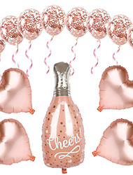 cheap -Rose Gold Wine Bottle Aluminum Foil Balloon Package 18 Inch Love Sequined Latex Birthday Party Layout Aluminum Foil Balloon
