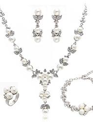 cheap -Women's Hoop Earrings Bracelet Ring Imitation Pearl Earrings Jewelry White For Wedding 1 set / Pearl Necklace