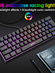 cheap -V700 RGB Light 61 Key Cable Game Film Keyboard For Laptop ABS Material
