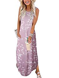 cheap -Women's Shift Dress Maxi long Dress Blue Blushing Pink Red Wine Orange Sleeveless Tie Dyed Print Spring Summer U Neck Basic Casual 2021 S M L XL 2XL