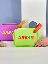 cheap -2021 Trendy Summer Jelly Color Wash Bag Fashion Handle Finishing Bag Cosmetic Storage Bag Waterproof Cosmetic Bag  21*5.5*15cm