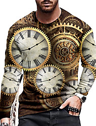 cheap -Men's Unisex Tee T shirt Shirt 3D Print Graphic Prints Clock Print Long Sleeve Daily Tops Casual Designer Big and Tall Brown