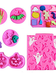 cheap -6 Pieces/set Halloween Chocolate Mold Skull Ghost Broom Pumpkin Witch Shape Food Grade Silicone Molds Skull Ghost DIY Decoration Baking Molds